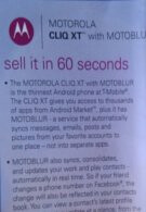Motorola CLIQ XT pamphlets gives pointer on how to sell it in 60 seconds