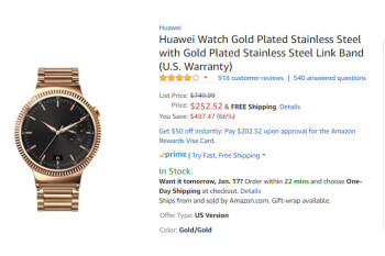 Deal: Gold-plated Huawei Watch is on sale for just $250 (66% off) on Amazon