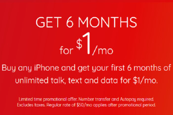 Buy an Apple iPhone from Virgin and get 6 months of high-speed data for $1 per month