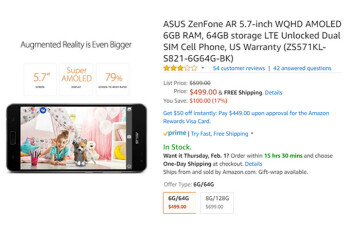 Deal: Asus ZenFone AR with 6GB RAM is $100 off at Amazon