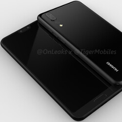 Huawei P20 render surfaces with triple camera setup on back, fingerprint scanner in front
