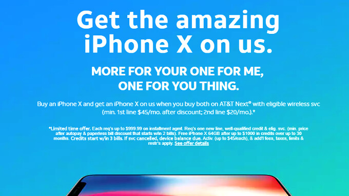 iphone deals at t at amp t offers the free iphone x bogo deal with next 9610