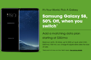 New Cricket subscribers can buy the Samsung Galaxy S8 for $350 (50% off) under certain conditions