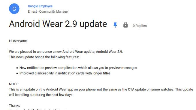 Android Wear 2.9 Update für die Handy-App innerhalb von Tagen