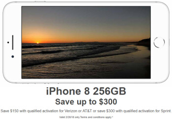Deal: Save $150 on the iPhone 8 256 GB on AT&T and Verizon, or $300 on Sprint (today only)