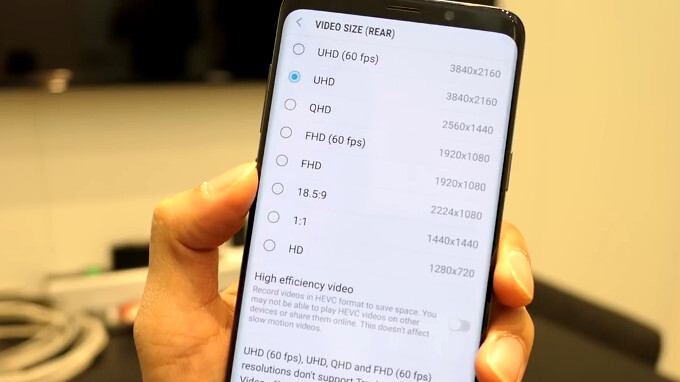 The S9 records 4K 60fps in high-efficiency codec, but no