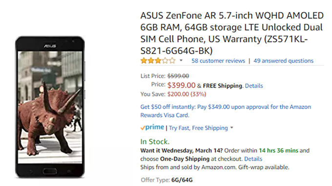 Deal: Asus ZenFone AR 6GB/8GB RAM on sale for $200 off on Amazon