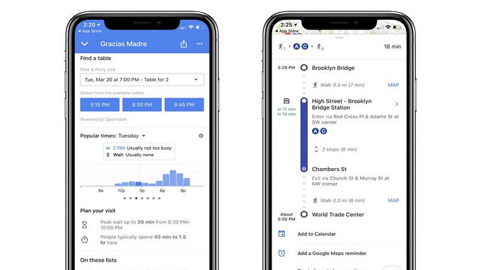 Google Maps for iOS gets updated to include waiting times at restaurants, and more