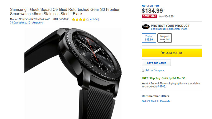 Deal: Refurbished Samsung Gear S3 frontier costs just $185 at Best Buy