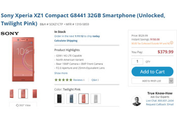 Deal: Sony Xperia XZ1 Compact on sale for just $380 ($120 off) at B&H