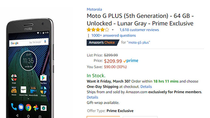 Deal: Unlocked Moto G5 Plus 64GB is 30% off on Amazon (Prime Exclusive offer)