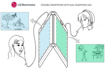 LG's patent for a foldable phone shows device has two screens, batteries and headphone jacks