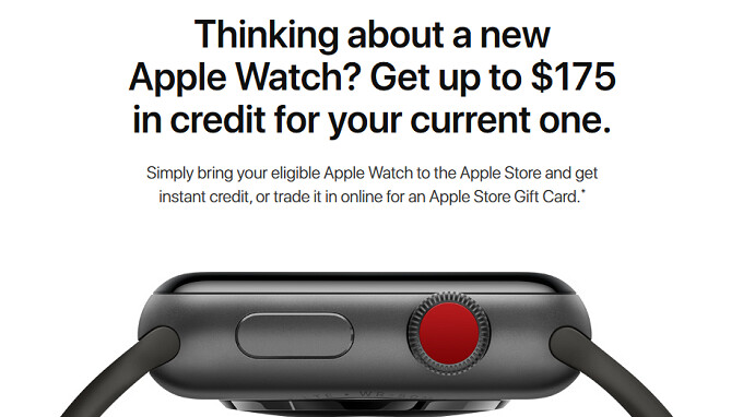 Trade in your older Apple Watch to Apple and receive up to $175 in credit