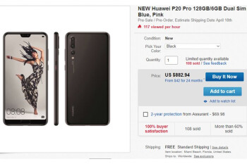 Huawei P20 Pro now available for pre-order in the US via eBay