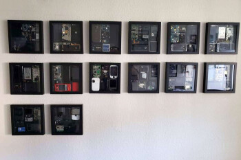 When it comes to geeky hobbies, wall-mounting and knolling your old phones takes the cake