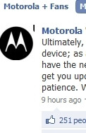 New Facebook post from Motorola about DROID update