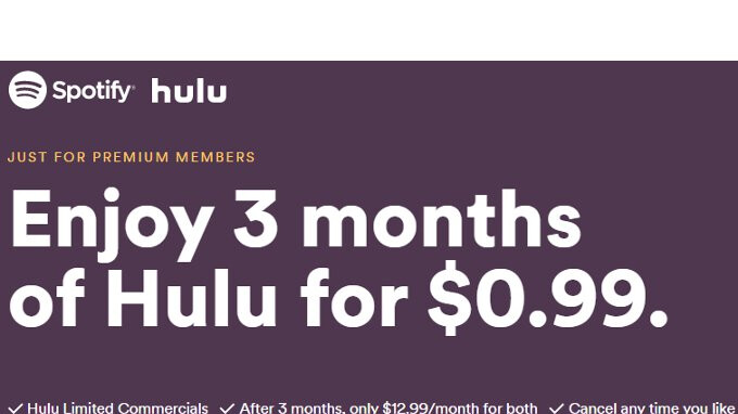 bundle spotify with hulu for just 13 a month. Black Bedroom Furniture Sets. Home Design Ideas