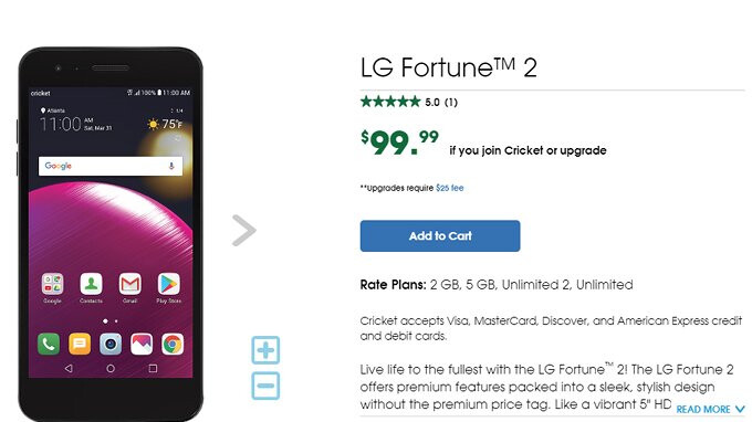 LG Fortune 2 arrives at Cricket Wireless, offers advanced selfie camera features