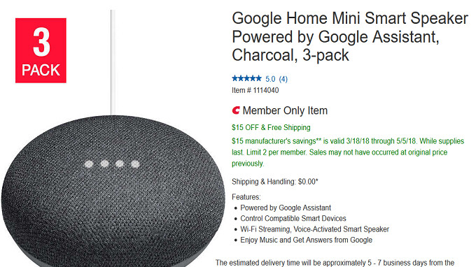 Buy your Google Home Mini smart speaker in bulk from Costco and save $15 on three