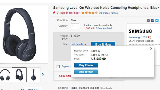 Deal: Samsung Level On wireless headphones are on sale for just $50 (75% off) on eBay