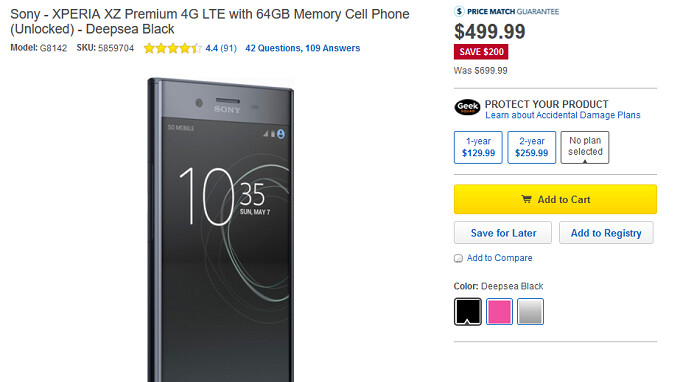 Sony Xperia XZ Premium is $500 at Best Buy for a $200 savings