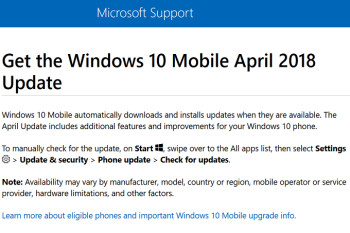 Windows 10 Mobile April 2018 update coming to compatible handsets according to Microsoft