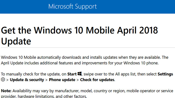Windows 10 Mobile April 2018 update coming to compatible handsets