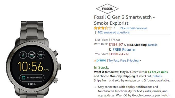 Deal: Fossil Q (3rd Gen) smartwatches with Wear OS are up to 43% off on Amazon