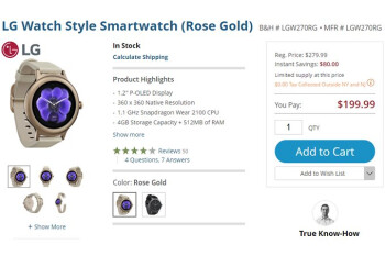 Deal: LG Watch Style (Rose Gold) smartwatch is $80 off at B&H