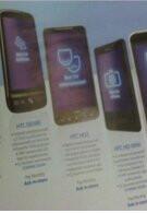 O2's April catalog displays the HTC HD Mini and HTC Desire