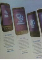 O2's April catalog displays the HTC HD Mini and HTC Desire