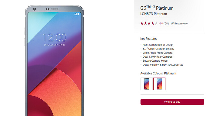 LG's 2017 flagship is now known in Canada as the LG G6 ThinQ