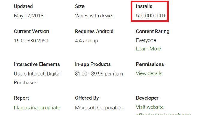 Microsoft Word für Android wurde über 500 Millionen Mal