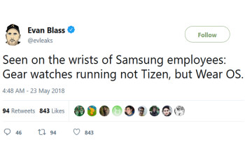 Picture from Samsung employees are said to be wearing Wear OS powered Gear smartwatches