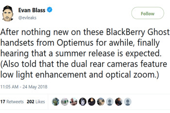 Summer release tipped for Optiemus' BlackBerry Ghost handsets; dual camera setup included