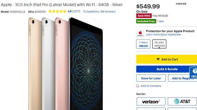 Deal: Save $100 on the Apple iPad Pro 10.5-inch at Best Buy
