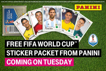 This coming Tuesday, T-Mobile will give subscribers free FIFA World Cup stickers and more