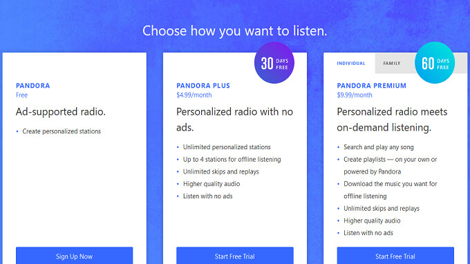 Pandora now offers a Premium Family plan for $14.99 a month