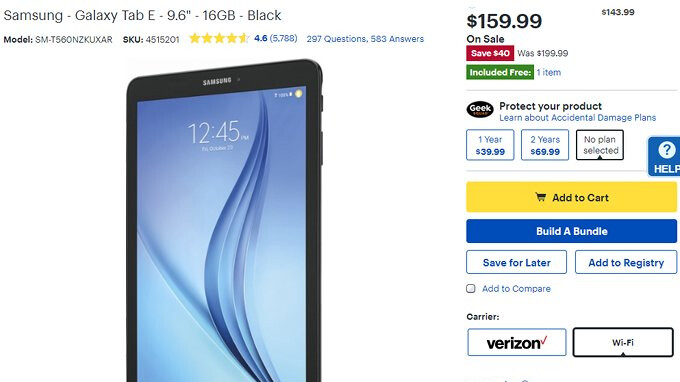 Deal: Samsung Galaxy Tab E is 20% off at Best Buy
