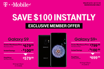 Take $100 off the T-Mobile Galaxy S9/S9+ at Costco; deal includes $100 cash card and TYLT Power Pack