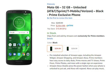 Amazon adds the Moto G6 to its Prime Exclusive lineup, offers a small discount