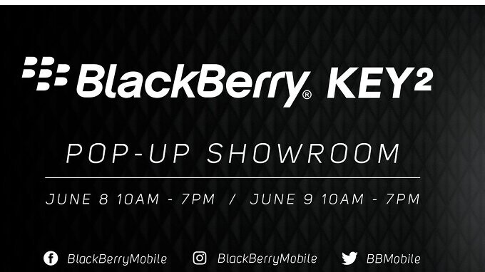 BlackBerry KEY2 pop-up showroom to be hosted on June 8-9