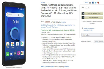 Alcatel 1X with Android Go is now available in the US