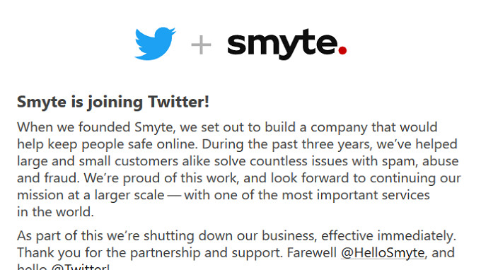 Twitter acquires tech firm Smyte to help it smite bullies, spammers and abusers