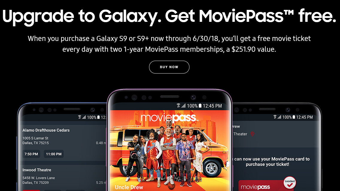 Deal: buy a Galaxy S9 or S9+, and go to the movies two years for free
