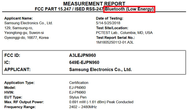 Document filed with the FCC reveals Bluetooth LE capabilities for the new S Pen