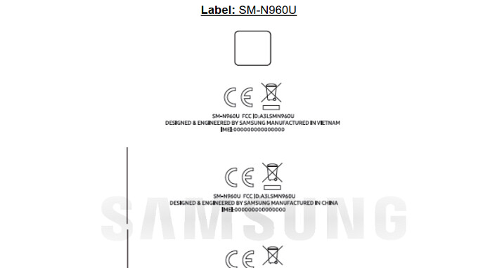 b88b467c748 The model number of the phone is SM-N960U. There is also an SM-N960U1  unlocked version for the U. S. An illustration found among the FCC  documents shows ...