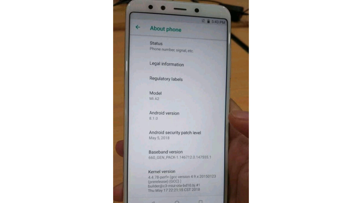 Xiaomi Mi A2 design and software details get reconfirmed in live image
