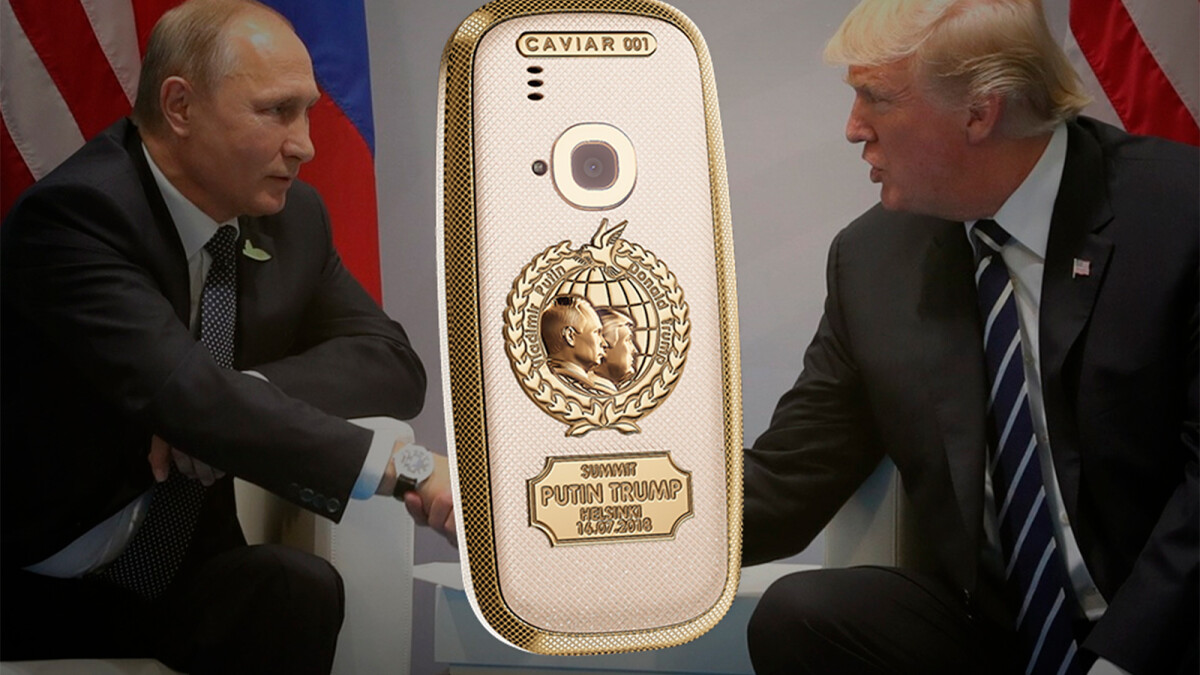 Garish Nokia 3310 made of titanium and 24K gold commemorates the historical Trump-Putin summit
