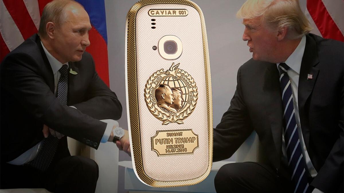 Garish Nokia 3310 made of titanium and 24K gold commemorates the historical Trump-Putin summit